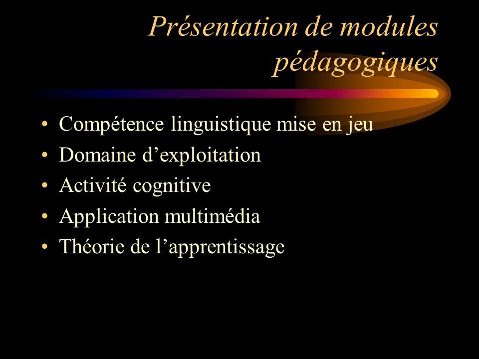 Présentation de modules pédagogiques Compétence linguistique mise en jeu Domaine dexploitation Activité cognitive Application multimédia Théorie de la