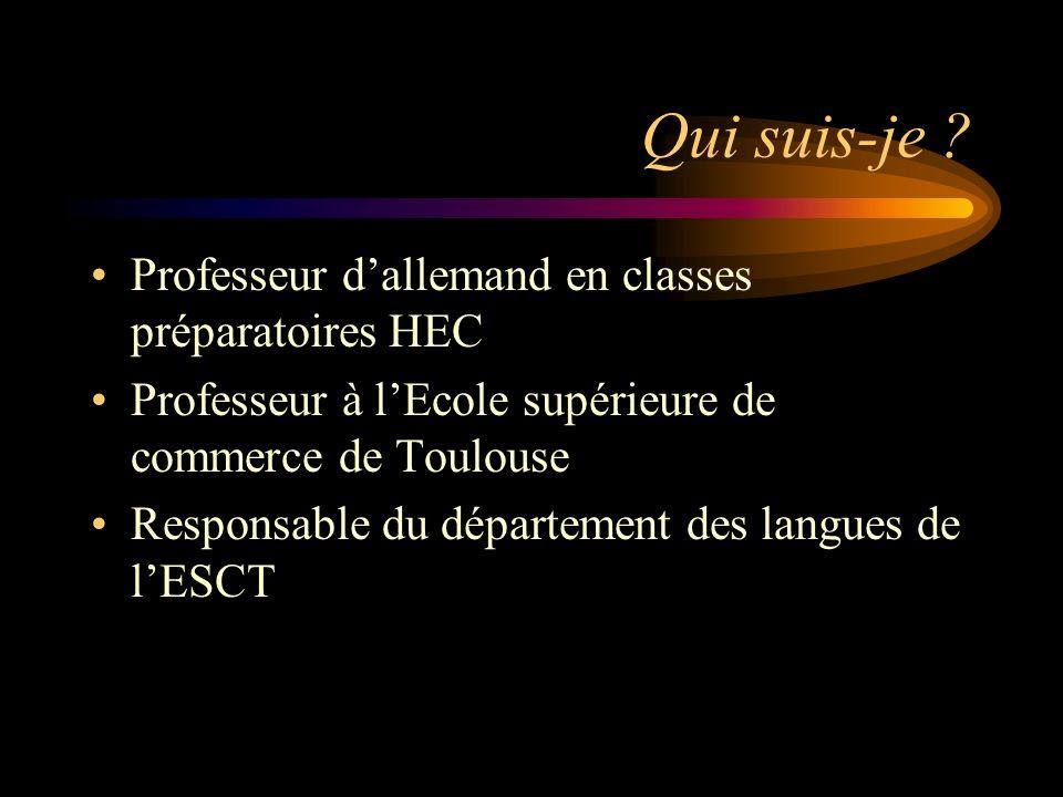 Qui suis-je ? Professeur dallemand en classes préparatoires HEC Professeur à lEcole supérieure de commerce de Toulouse Responsable du département des