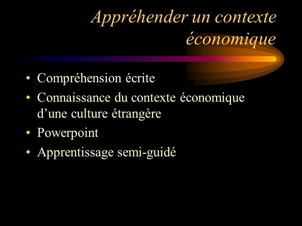 Appréhender un contexte économique Compréhension écrite Connaissance du contexte économique dune culture étrangère Powerpoint Apprentissage semi-guidé