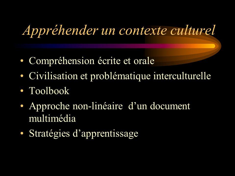 Appréhender un contexte culturel Compréhension écrite et orale Civilisation et problématique interculturelle Toolbook Approche non-linéaire dun docume