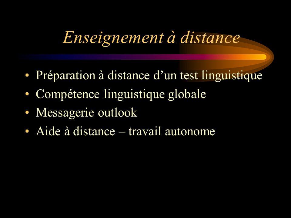 Enseignement à distance Préparation à distance dun test linguistique Compétence linguistique globale Messagerie outlook Aide à distance – travail auto