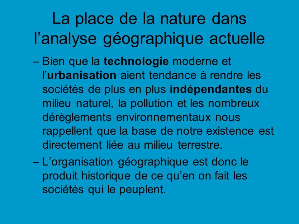 La place de la nature dans lanalyse géographique actuelle –Bien que la technologie moderne et lurbanisation aient tendance à rendre les sociétés de pl
