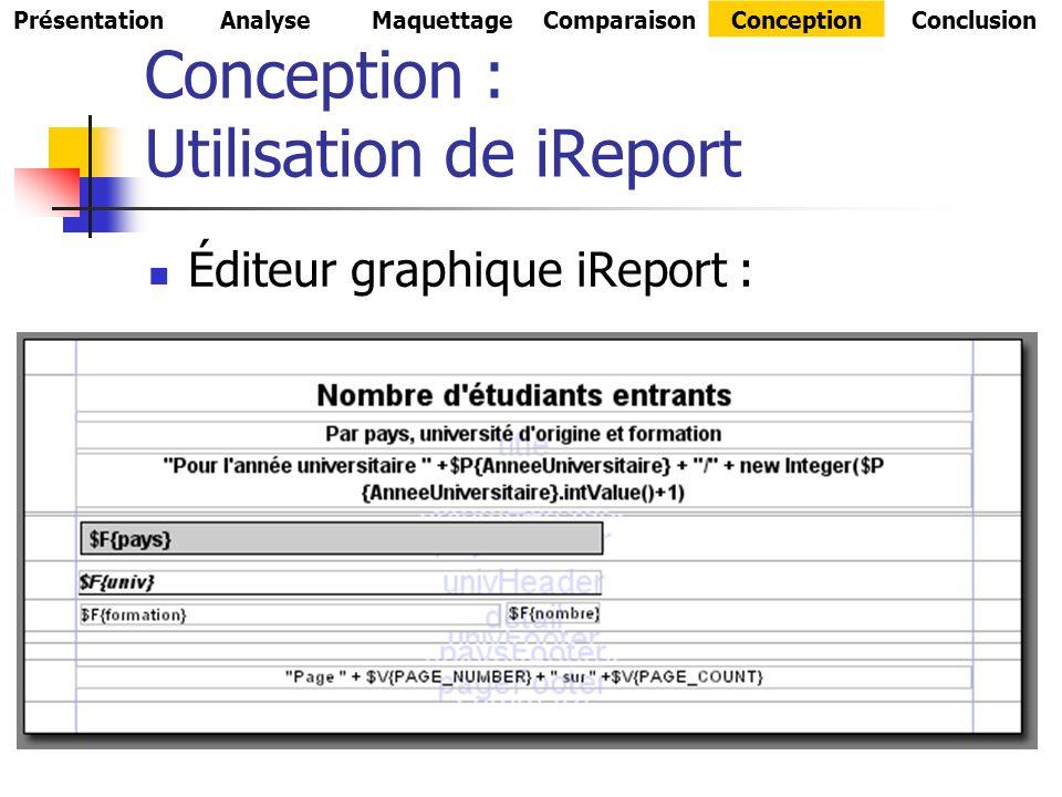 Conception : Utilisation de iReport Éditeur graphique iReport : PrésentationAnalyseMaquettageComparaisonConceptionConclusion