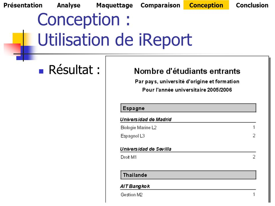 Conception : Utilisation de iReport Résultat : PrésentationAnalyseMaquettageComparaisonConceptionConclusion