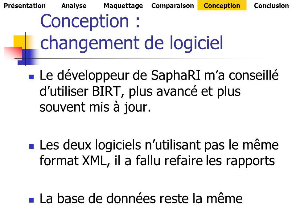 Conception : changement de logiciel Le développeur de SaphaRI ma conseillé dutiliser BIRT, plus avancé et plus souvent mis à jour.
