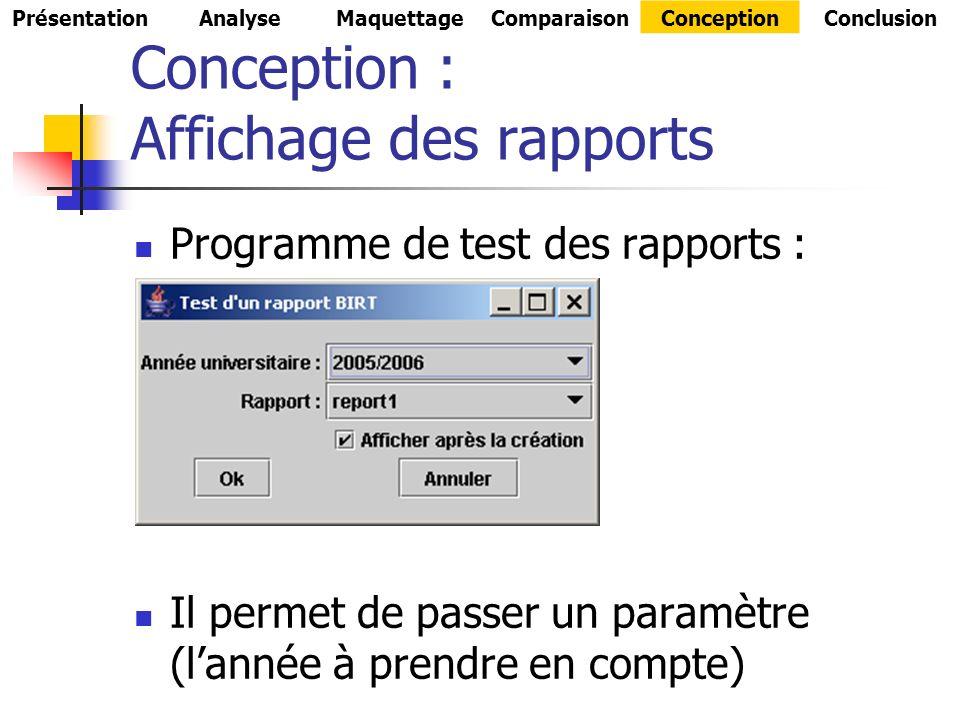 Conception : Affichage des rapports Programme de test des rapports : Il permet de passer un paramètre (lannée à prendre en compte) PrésentationAnalyseMaquettageComparaisonConceptionConclusion