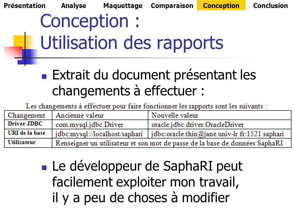 Conception : Utilisation des rapports Extrait du document présentant les changements à effectuer : Le développeur de SaphaRI peut facilement exploiter mon travail, il y a peu de choses à modifier PrésentationAnalyseMaquettageComparaisonConceptionConclusion