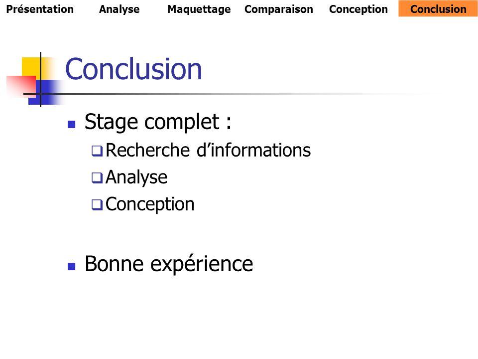 Stage complet : Recherche dinformations Analyse Conception Bonne expérience PrésentationAnalyseMaquettageComparaisonConceptionConclusion