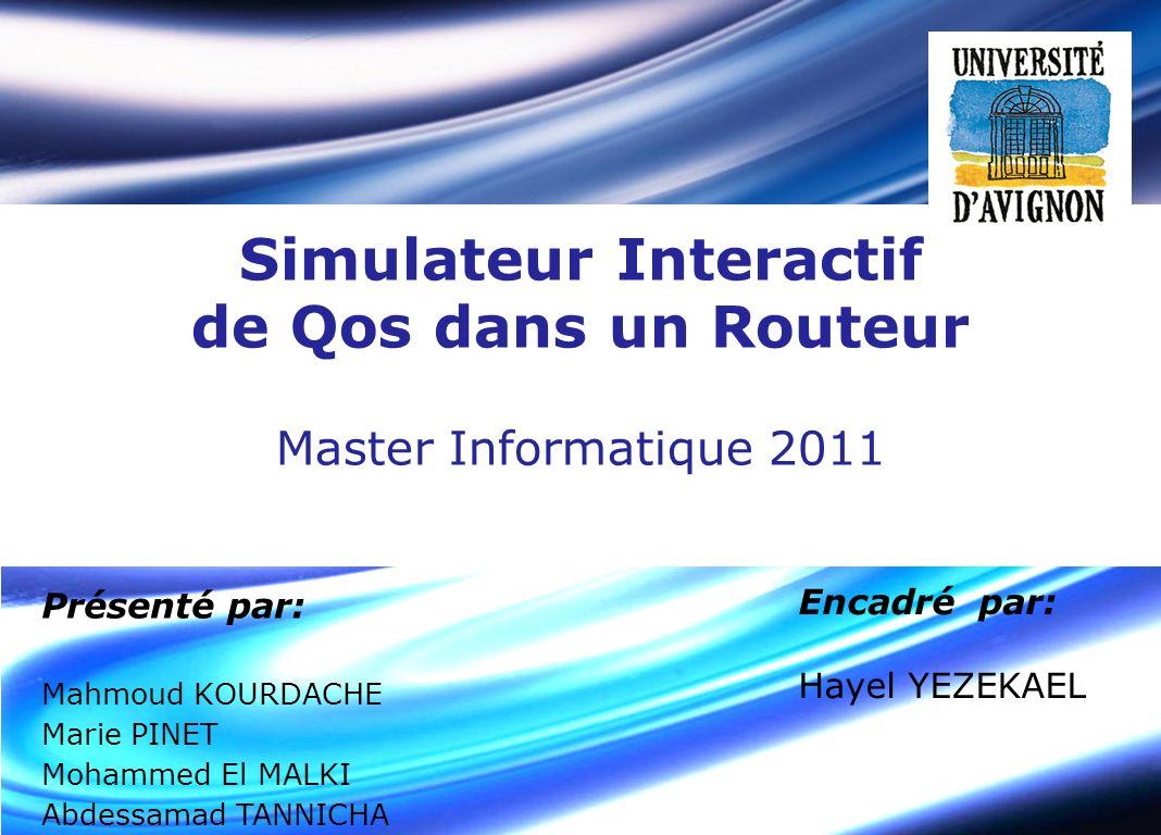 Simulateur Interactif de Qos dans un Routeur Présenté par: Mahmoud KOURDACHE Marie PINET Mohammed El MALKI Abdessamad TANNICHA Encadré par: Hayel YEZE