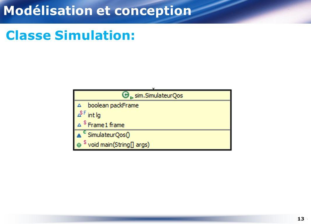 Modélisation et conception Classe Simulation: 13