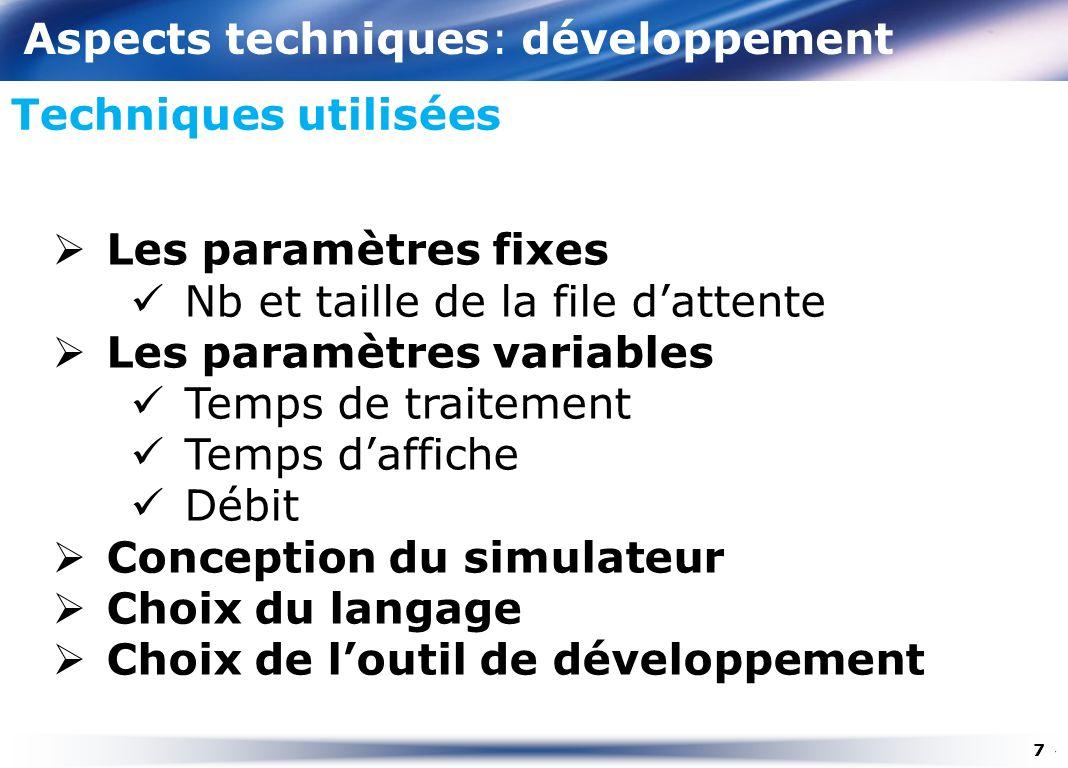 Aspects techniques: développement Techniques utilisées Les paramètres fixes Nb et taille de la file dattente Les paramètres variables Temps de traitem