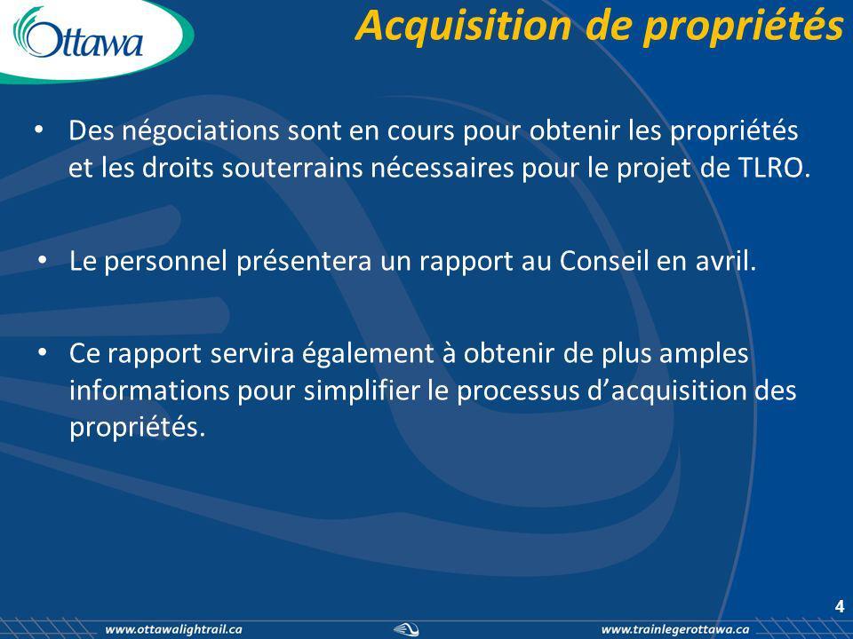 Acquisition de propriétés Des négociations sont en cours pour obtenir les propriétés et les droits souterrains nécessaires pour le projet de TLRO.