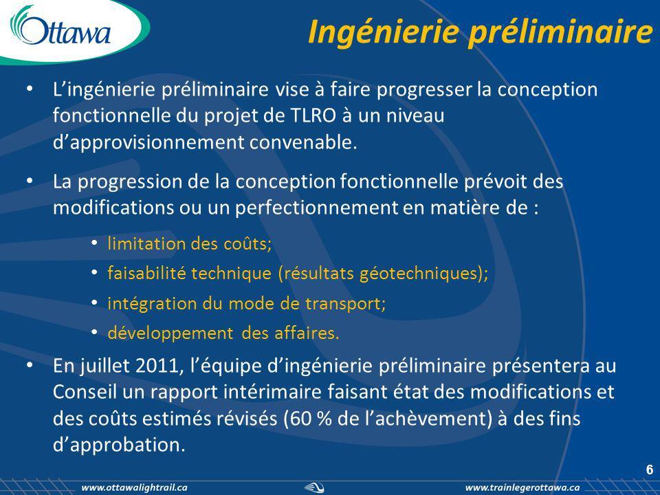 Ingénierie préliminaire Lingénierie préliminaire vise à faire progresser la conception fonctionnelle du projet de TLRO à un niveau dapprovisionnement convenable.
