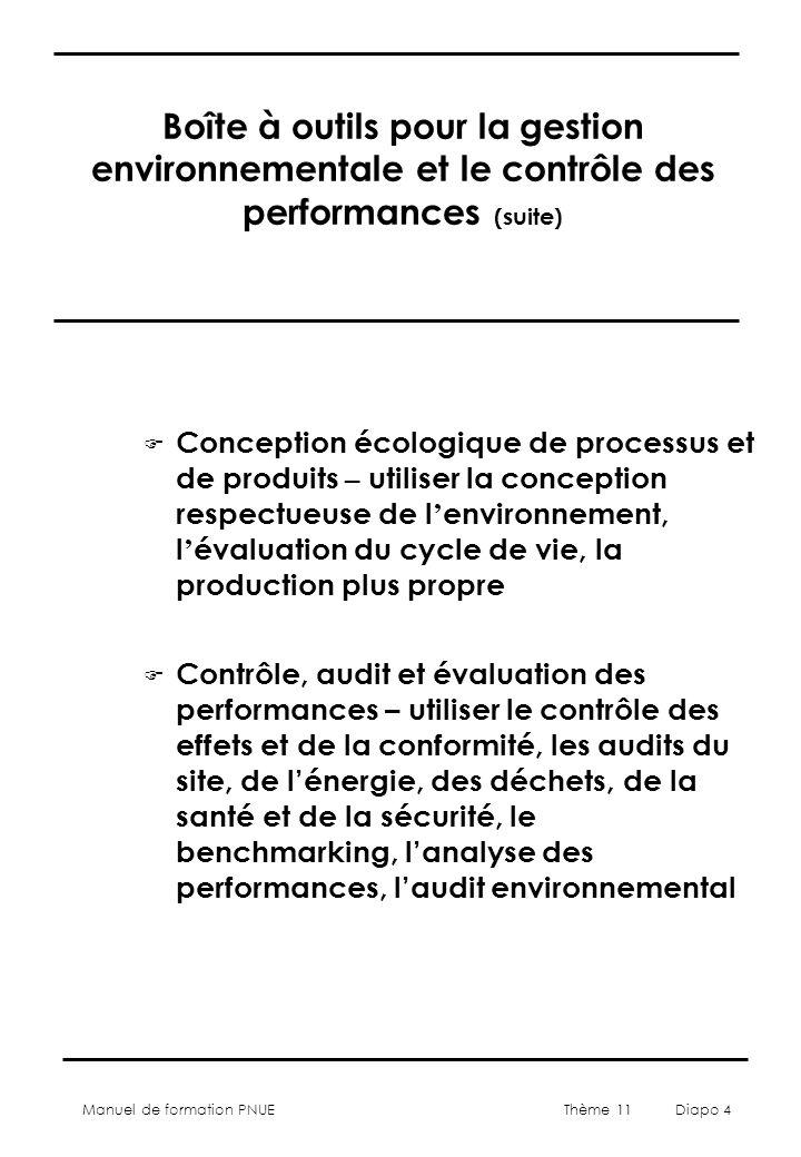 Manuel de formation PNUE Thème 11 Diapo 4 Boîte à outils pour la gestion environnementale et le contrôle des performances (suite) F Conception écologique de processus et de produits – utiliser la conception respectueuse de l environnement, l évaluation du cycle de vie, la production plus propre F Contrôle, audit et évaluation des performances – utiliser le contrôle des effets et de la conformité, les audits du site, de lénergie, des déchets, de la santé et de la sécurité, le benchmarking, lanalyse des performances, laudit environnemental
