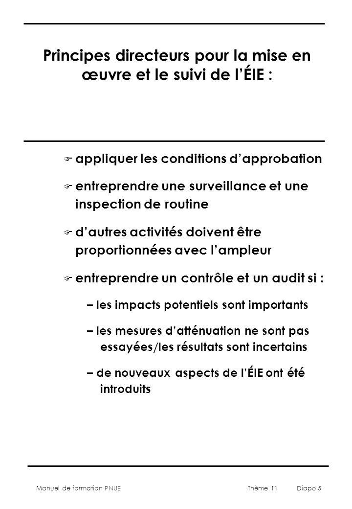 Manuel de formation PNUE Thème 11 Diapo 6 Aspects à prendre en compte dans le conception de mise en œuvre et de suivi de lÉIE : F Quelle est laction requise .