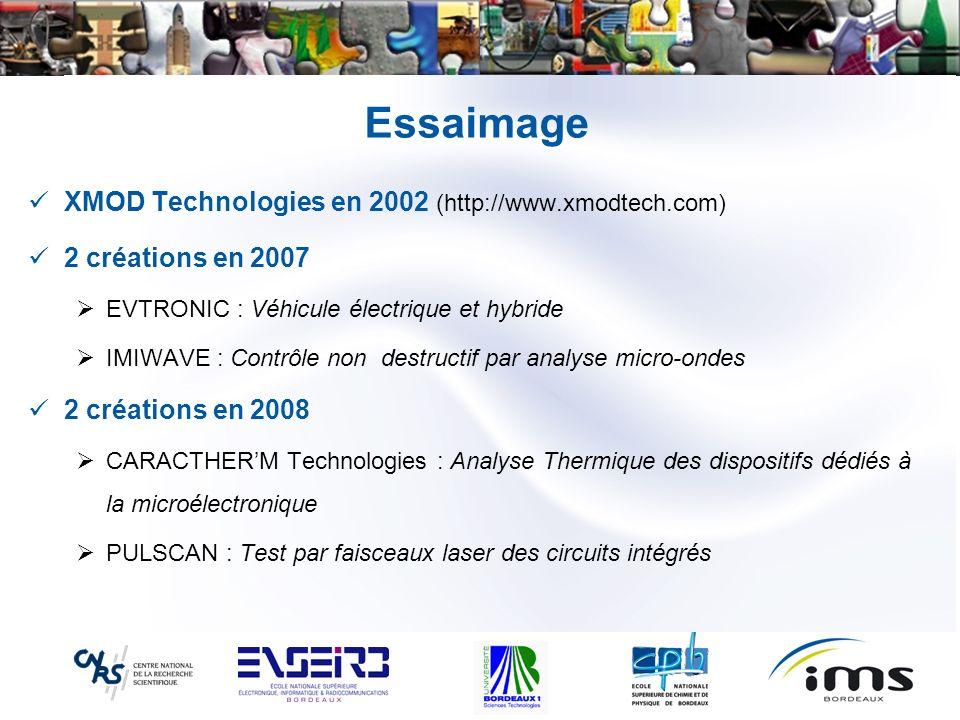 Essaimage XMOD Technologies en 2002 (http://www.xmodtech.com) 2 créations en 2007 EVTRONIC : Véhicule électrique et hybride IMIWAVE : Contrôle non des