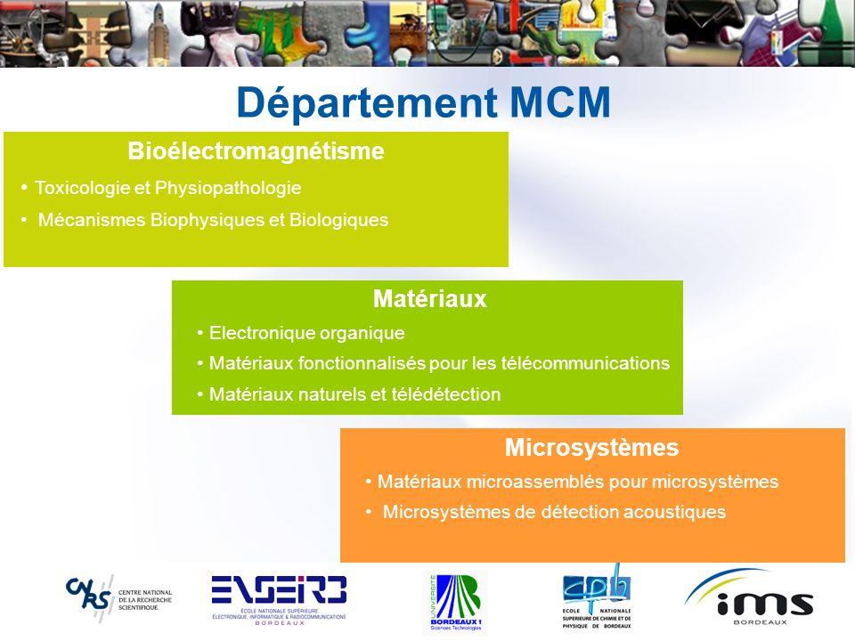 Département MCM Bioélectromagnétisme Toxicologie et Physiopathologie Mécanismes Biophysiques et Biologiques Matériaux Electronique organique Matériaux