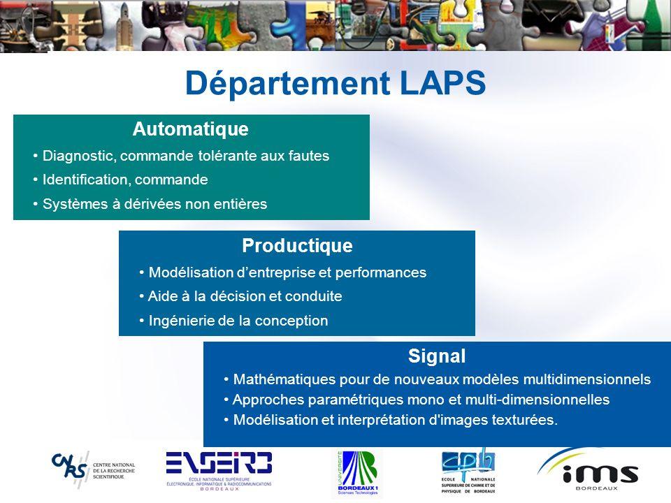 Département LAPS Productique Modélisation dentreprise et performances Aide à la décision et conduite Ingénierie de la conception Signal Mathématiques