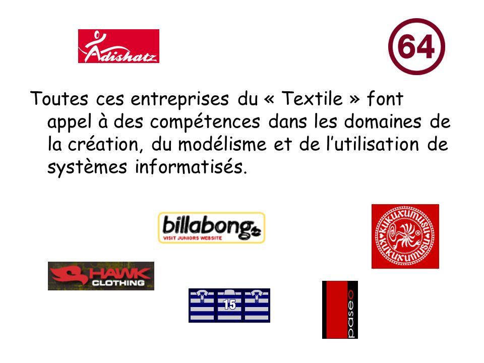 Toutes ces entreprises du « Textile » font appel à des compétences dans les domaines de la création, du modélisme et de lutilisation de systèmes informatisés.