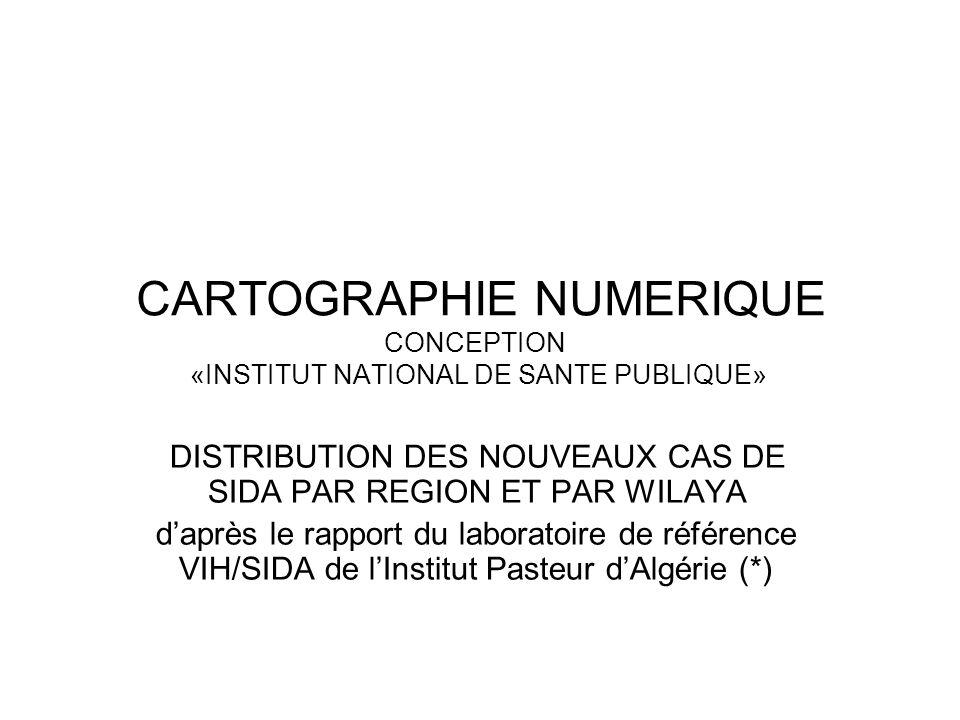 CARTOGRAPHIE NUMERIQUE CONCEPTION «INSTITUT NATIONAL DE SANTE PUBLIQUE» DISTRIBUTION DES NOUVEAUX CAS DE SIDA PAR REGION ET PAR WILAYA daprès le rappo