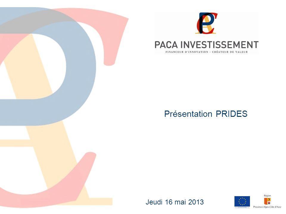 2 La SAS PACA Investissement SAS au capital de 15,45 M dont les investissements sont gérés par Créée en 2010 par la Région et financée à 50% par le Feder Tickets dinvestissement : entre 150 et 1 500 K Cible dinvestissement : toute entreprise de moins de 50 salariés avec un CA < 10 M en phase de démarrage/amorçage ou dexpansion basée en région PACA présentant un caractère innovant (technologique, de services ou dusage) Co-investissements pari passu avec des acteurs régionaux et nationaux.