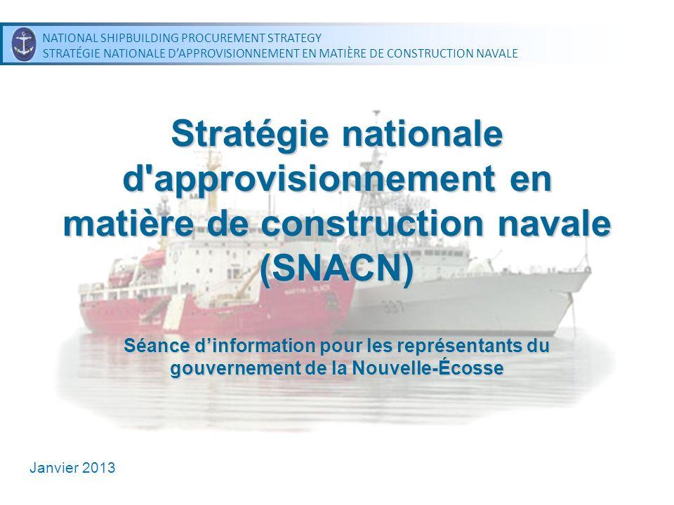 NATIONAL SHIPBUILDING PROCUREMENT STRATEGY STRATÉGIE NATIONALE DAPPROVISIONNEMENT EN MATIÈRE DE CONSTRUCTION NAVALE NATIONAL SHIPBUILDING PROCUREMENT STRATEGY STRATÉGIE NATIONALE DAPPROVISIONNEMENT EN MATIÈRE DE CONSTRUCTION NAVALE Navires de patrouille extracôtiers de lArctique Contrat auxiliaire Attribué le 27 juin 2012, en vigueur jusquau 27 janvier 2013 Contrat de définition Amener la conception du navire aux niveaux de production; pourrait comprendre un module dessais de production Lobjectif est dattribuer le contrat dici la fin janvier 2013 Fin du contrat : dans 30 mois Contrat de construction – Prochaine étape 22