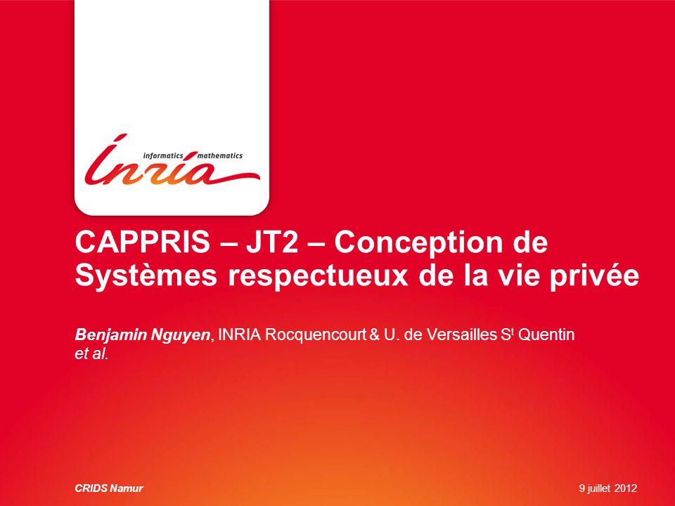 JT2- Conception de Systèmes Respectueux de la vie privée Constat: -La protection des données de lutilisateur nest pas au centre des applications de gestion de données à lheure actuelle.