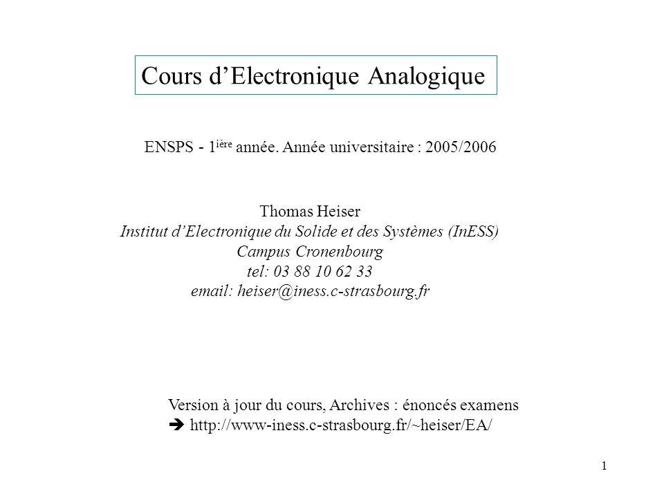 1 Cours dElectronique Analogique ENSPS - 1 ière année. Année universitaire : 2005/2006 Thomas Heiser Institut dElectronique du Solide et des Systèmes