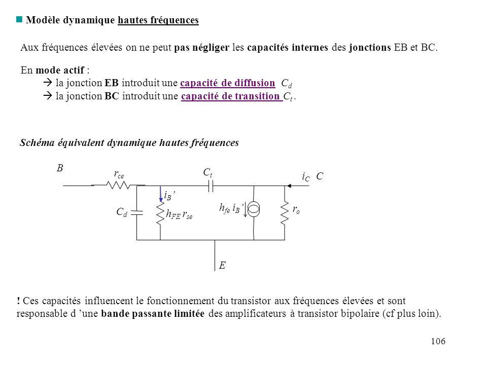 106 n Modèle dynamique hautes fréquences Aux fréquences élevées on ne peut pas négliger les capacités internes des jonctions EB et BC. En mode actif :