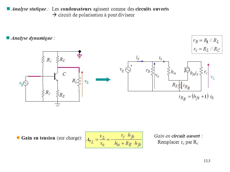 113 n Analyse statique :Les condensateurs agissent comme des circuits ouverts circuit de polarisation à pont diviseur n Analyse dynamique : vgvg rBrB
