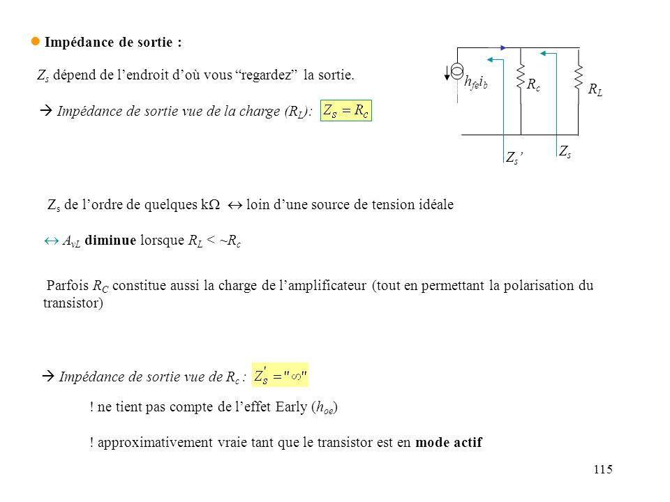 115 l Impédance de sortie : ! ne tient pas compte de leffet Early (h oe ) ! approximativement vraie tant que le transistor est en mode actif Impédance