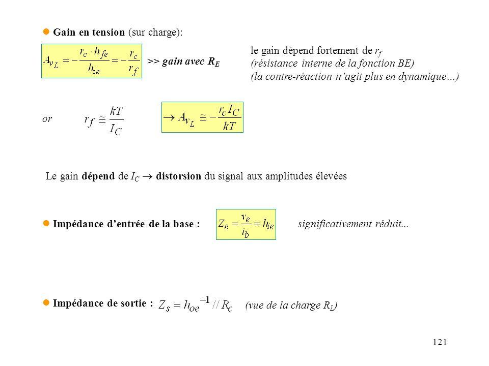 121 l Gain en tension (sur charge): >> gain avec R E le gain dépend fortement de r f (résistance interne de la fonction BE) (la contre-réaction nagit