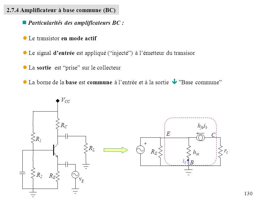 130 l Le transistor en mode actif l Le signal dentrée est appliqué (injecté) à lémetteur du transisor l La sortie est prise sur le collecteur l La bor