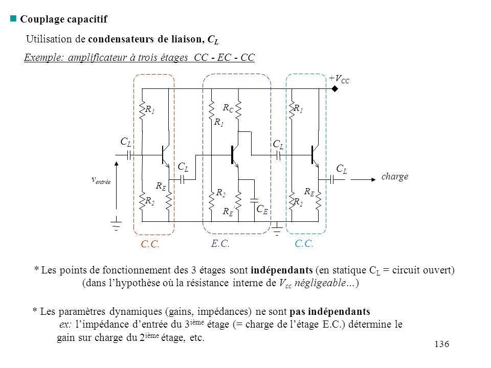 136 n Couplage capacitif Exemple: amplificateur à trois étages CC - EC - CC Utilisation de condensateurs de liaison, C L C.C. E.C.C.C. * Les points de