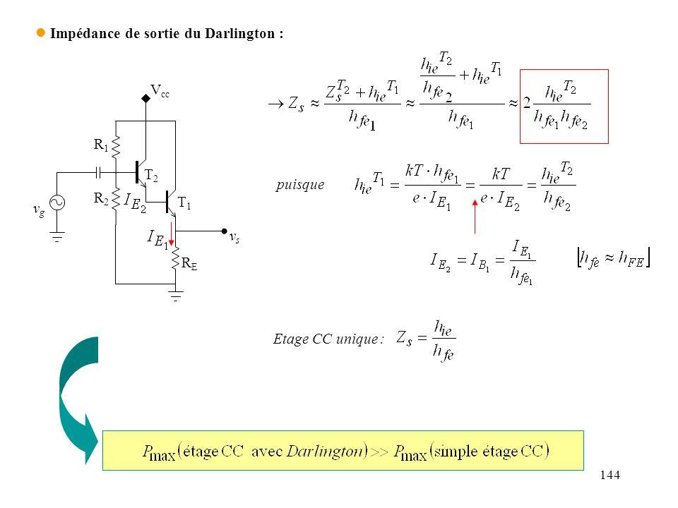 144 l Impédance de sortie du Darlington : puisque V cc vgvg R1R1 R2R2 RERE T2T2 T1T1 vsvs Etage CC unique :