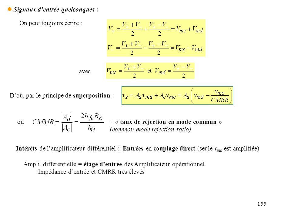 155 l Signaux dentrée quelconques : On peut toujours écrire : avec Doù, par le principe de superposition : où= « taux de réjection en mode commun » (c