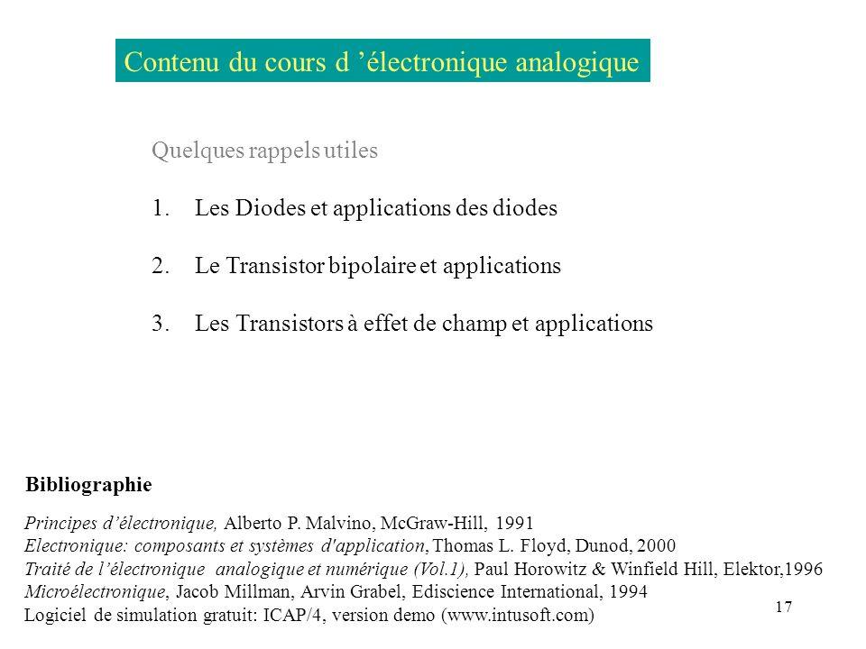 17 Contenu du cours d électronique analogique Quelques rappels utiles 1. Les Diodes et applications des diodes 2. Le Transistor bipolaire et applicati