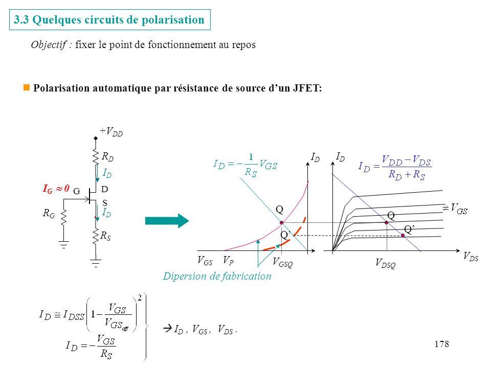178 Dipersion de fabrication Q Q n Polarisation automatique par résistance de source dun JFET: +V DD RSRS RDRD RGRG IDID IDID G S D I G 0 3.3 Quelques