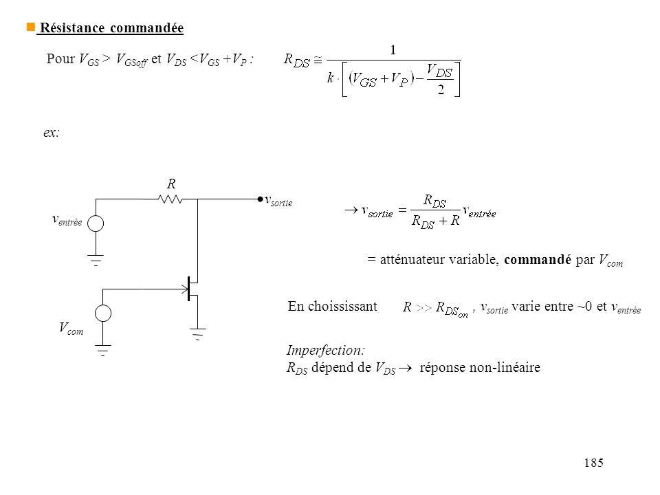 185 Pour V GS > V GSoff et V DS <V GS +V P : ex: v entrée v sortie V com R = atténuateur variable, commandé par V com En choississant, v sortie varie