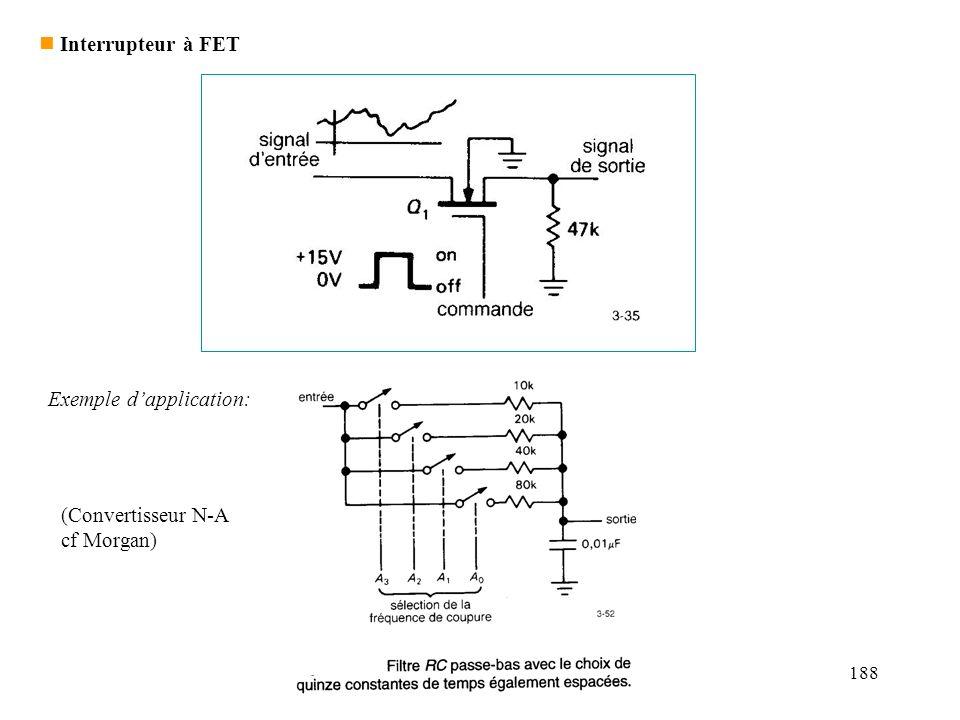 188 n Interrupteur à FET Exemple dapplication: (Convertisseur N-A cf Morgan)