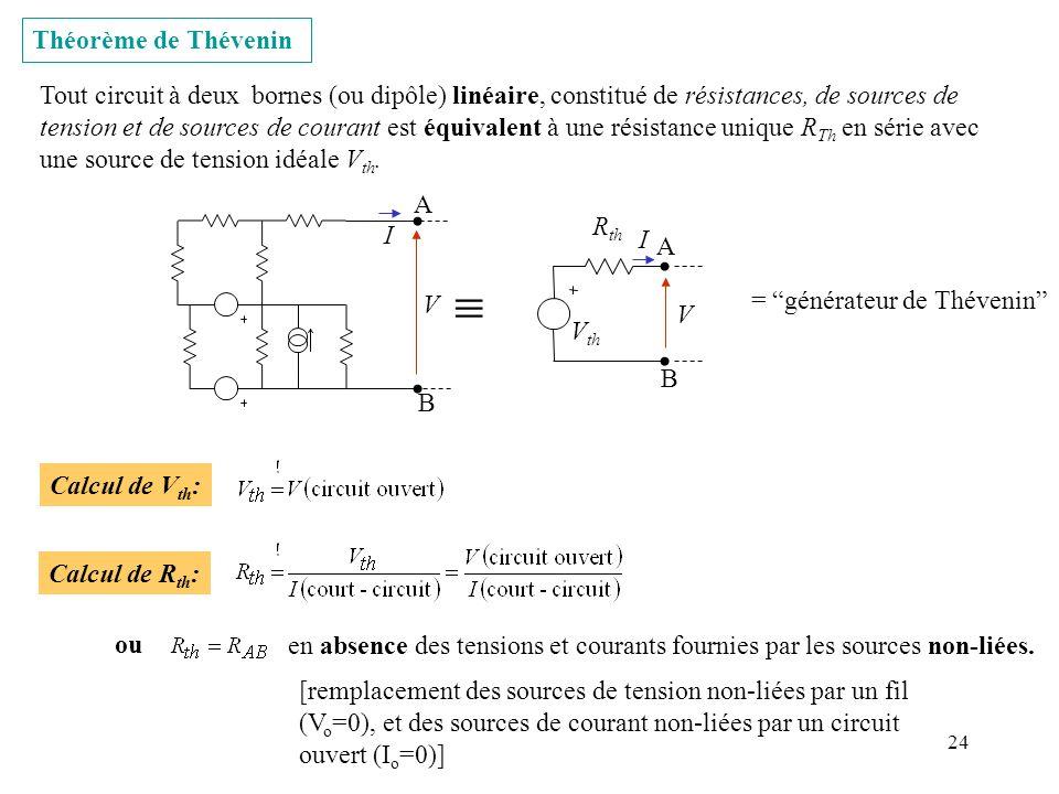 24 Théorème de Thévenin Tout circuit à deux bornes (ou dipôle) linéaire, constitué de résistances, de sources de tension et de sources de courant est