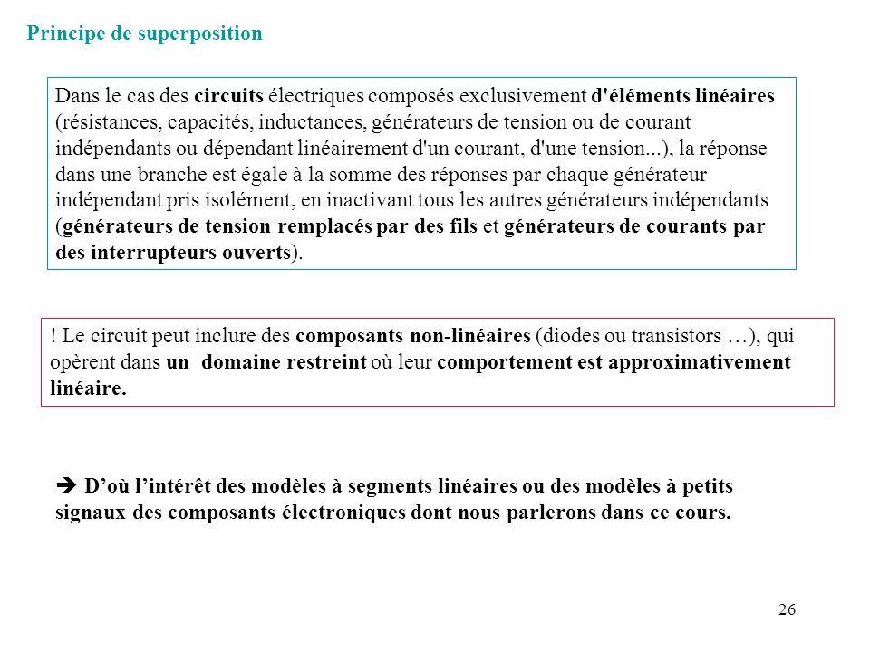 26 Principe de superposition Dans le cas des circuits électriques composés exclusivement d'éléments linéaires (résistances, capacités, inductances, gé