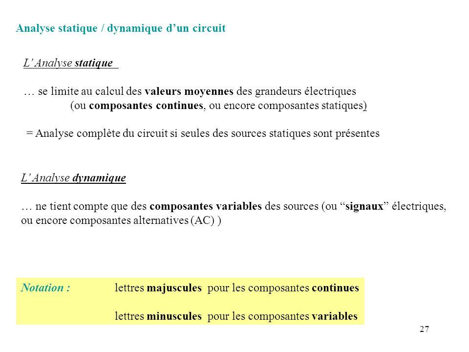 27 Analyse statique / dynamique dun circuit L Analyse dynamique … ne tient compte que des composantes variables des sources (ou signaux électriques, o