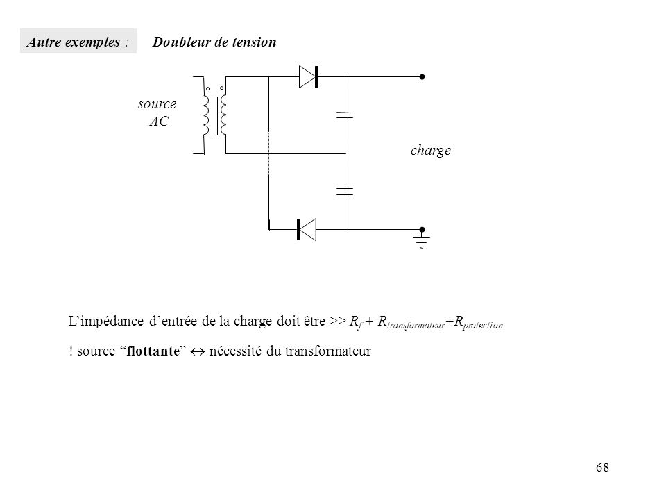 68 Limpédance dentrée de la charge doit être >> R f + R transformateur +R protection ! source flottante nécessité du transformateur charge source AC A