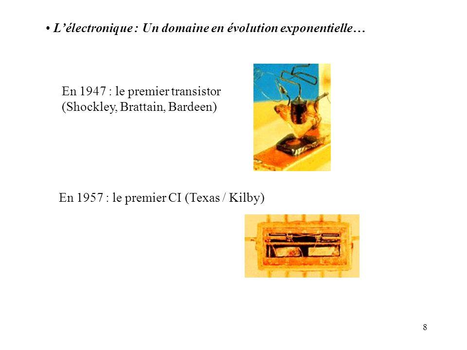8 Lélectronique : Un domaine en évolution exponentielle… En 1947 : le premier transistor (Shockley, Brattain, Bardeen) En 1957 : le premier CI (Texas