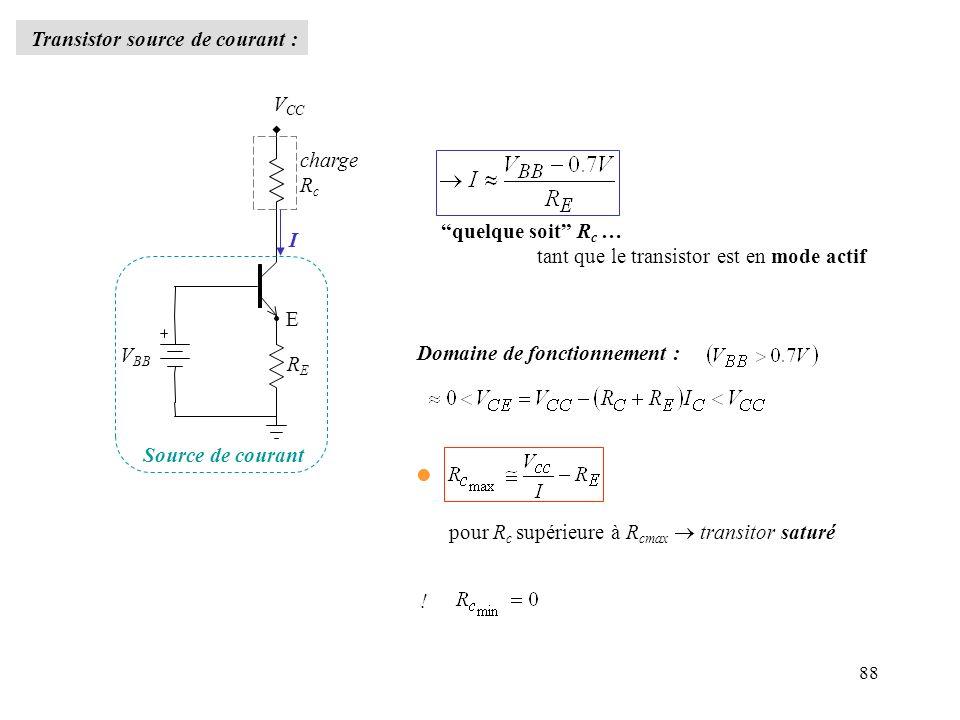 88 Transistor source de courant : charge R c V CC V BB RERE I E Source de courant quelque soit R c … tant que le transistor est en mode actif Domaine
