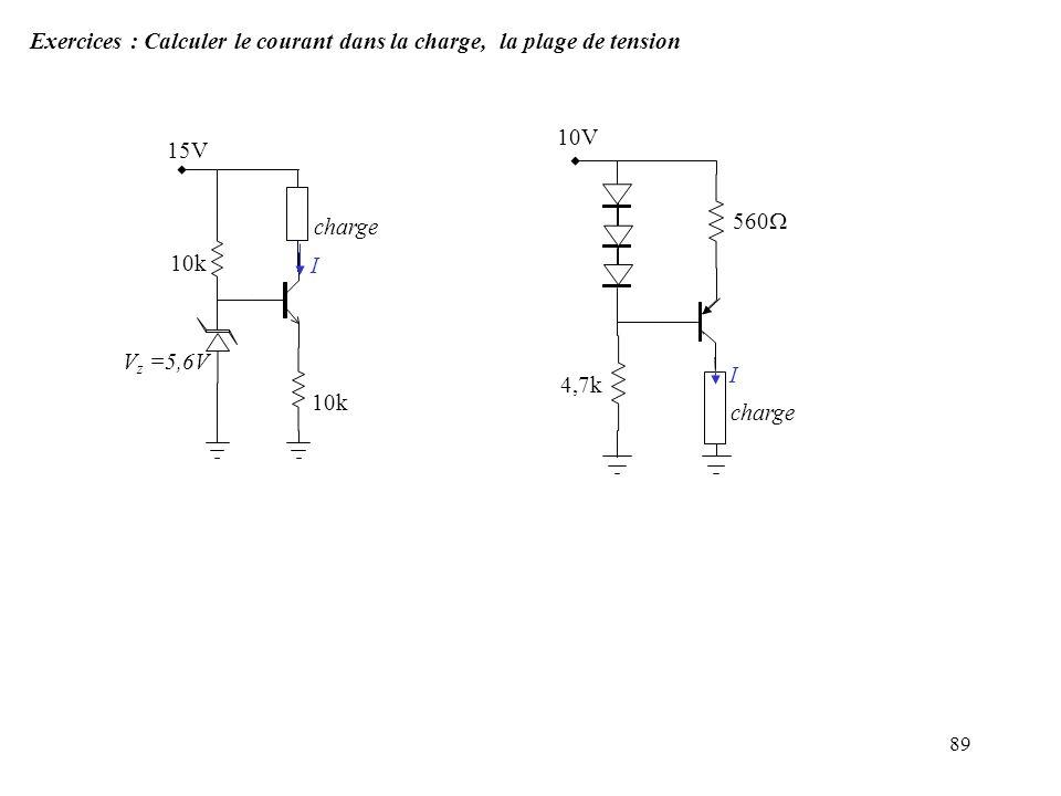 89 Exercices : Calculer le courant dans la charge, la plage de tension 15V 10k V z =5,6V charge I 10V 560 4,7k I charge