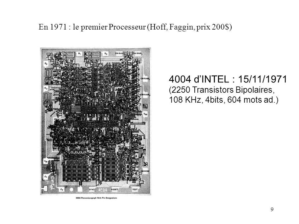 9 En 1971 : le premier Processeur (Hoff, Faggin, prix 200$) 4004 dINTEL : 15/11/1971 (2250 Transistors Bipolaires, 108 KHz, 4bits, 604 mots ad.)