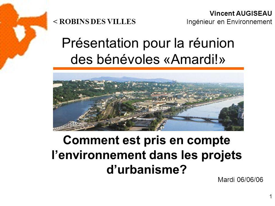 2 Avant-propos En réalisant cette présentation, jai souhaité effectuer un tour dhorizon des questions liées à lintégration des problématiques environnementales dans les projets urbains.