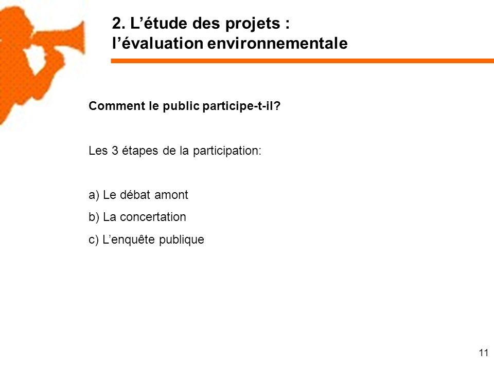 11 2. Létude des projets : lévaluation environnementale Comment le public participe-t-il.